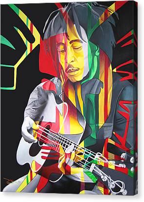 Bob Marley And Rasta Lion Canvas Print by Joshua Morton