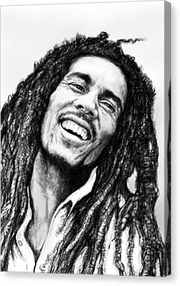 Bob Marley Art Drawing Sketch Portrait  Canvas Print by Kim Wang