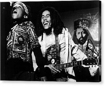 Bob Marley Behind Kid Singing Canvas Print by Retro Images Archive
