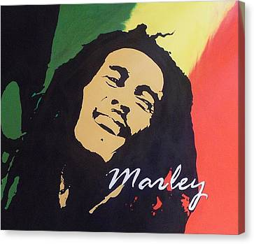 Canvas Print featuring the painting Bob Marley by Cherise Foster