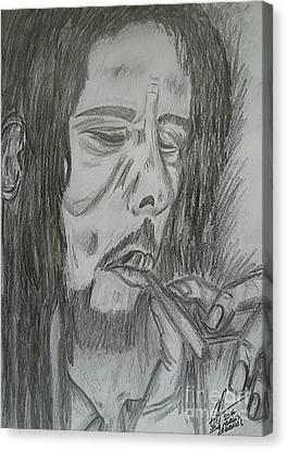 Bob Marley Pencil Portrait Art Canvas Print by Collin A Clarke