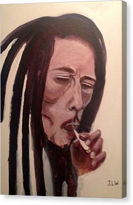 Canvas Print featuring the painting Bob Marley by Justin Lee Williams