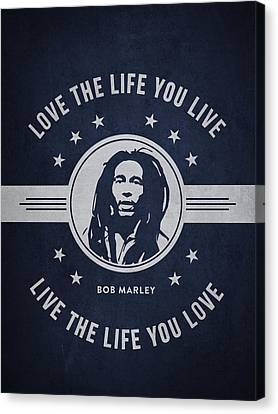 Autographed Canvas Print - Bob Marley - Navy Blue by Aged Pixel