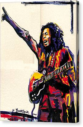 Bob Marley - One Love Canvas Print by Everett Spruill
