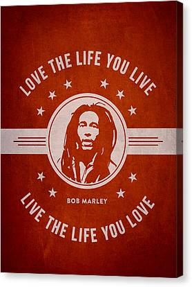 Bob Marley - Red Canvas Print by Aged Pixel