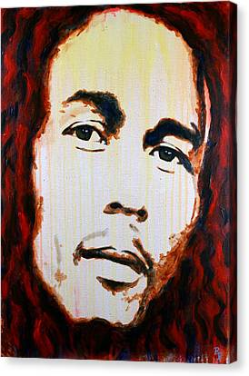 Canvas Print featuring the painting Bob Marley Reggae Icon by Bob Baker