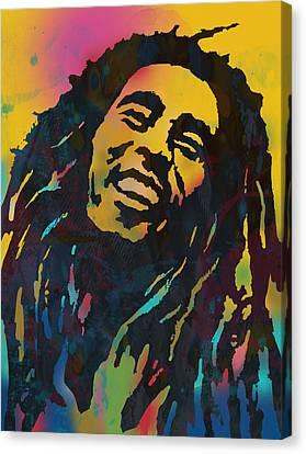 Bob Marley Stylised Etching Pop Art Drawing Potrait Poser Canvas Print by Kim Wang