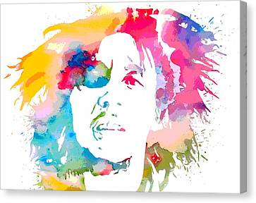 Bob Marley Watercolor Portrait Canvas Print by Dan Sproul