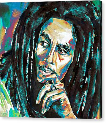 Bob Marley Watercolor Portrait.7 Canvas Print by Fabrizio Cassetta