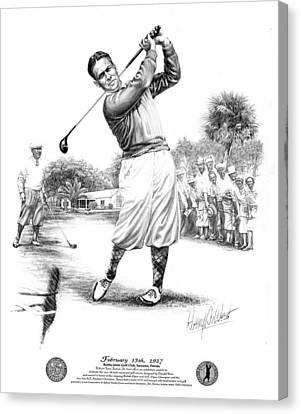 Bobby Jones At Sarasota - Black On White Canvas Print by Harry West
