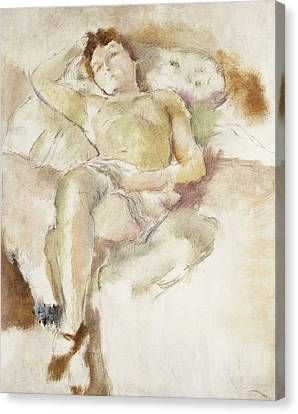 Hands Behind Head Canvas Print - Bobette Lying Down Bobette Allongee by Jules Pascin