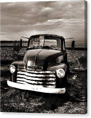 Bob's Truck In Sepia Canvas Print by Julie Dant