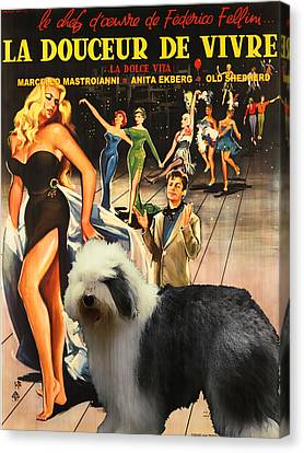 Bobtail -  Old English Sheepdog Art Canvas Print - La Dolce Vita Movie Poster Canvas Print