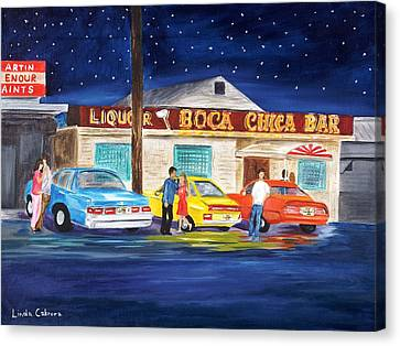 Boca Chica Bar Canvas Print by Linda Cabrera