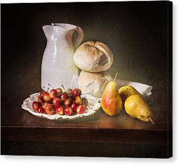 Bodegon With Cherries-pears-white Jar Canvas Print by Levin Rodriguez