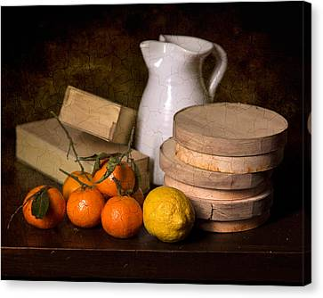 Bodegon With Jalea Boxes - Citrus And Jar Canvas Print by Levin Rodriguez