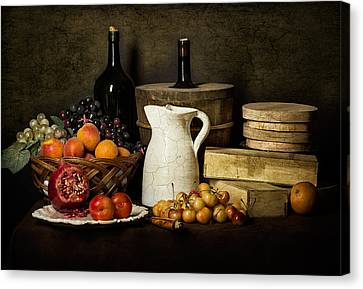 Bodegon With White Jug-pommegranate-jalea Boxes And Cooler Canvas Print by Levin Rodriguez