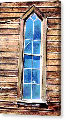Canvas Print featuring the photograph Bodie Church Window by Mary Bedy