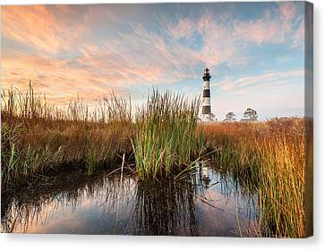 Bodie Island Lighthouse Coastal Marsh Reflections Canvas Print by Mark VanDyke