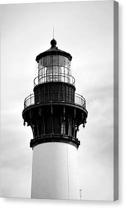 Canvas Print featuring the photograph Bodie Lighthouse Lens In Black And White by Bob Sample
