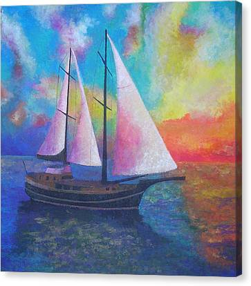 Canvas Print featuring the painting Bodrum Gulet Cruise by Tracey Harrington-Simpson