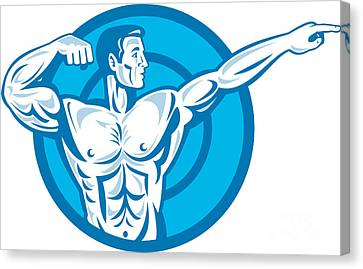 Bodybuilder Flexing Muscles Pointing Side Retro Canvas Print by Aloysius Patrimonio