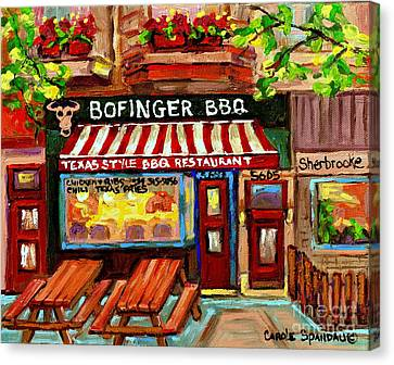 Urban Scenes Canvas Print - Bofingers Smokehouse Painting Texas Style Bbq Diners Art Of Montreal City Scenes Carole Spandau by Carole Spandau
