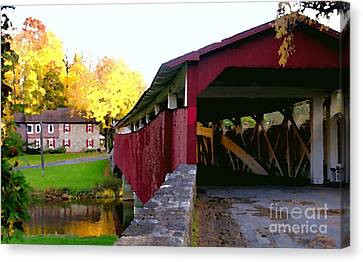 Bogerts Covered Bridge Allentown Pa Canvas Print by Jacqueline M Lewis