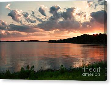 Canvas Print featuring the photograph Bohemia River Sunset In Maryland by Polly Peacock