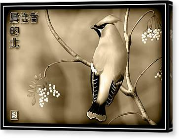 Rare Bird Canvas Print - Bohemian Waxwing In Sepia by John Wills