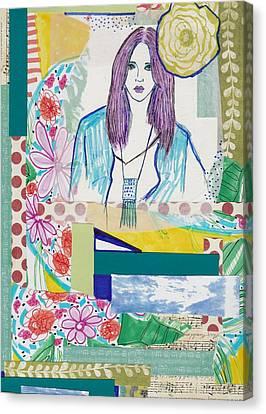 Watercolor With Pen Canvas Print - Boho Flower Girl by Rosalina Bojadschijew