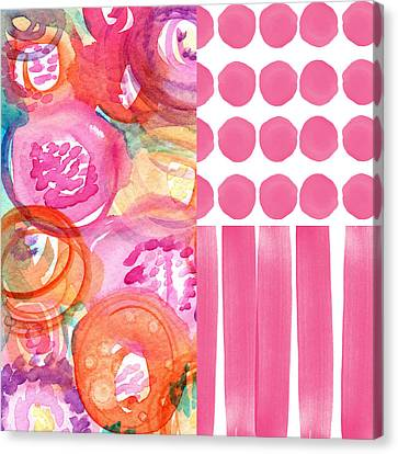 Boho Flower Patchwork- Watercolor Art Canvas Print by Linda Woods