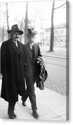 Swiss Canvas Print - Bohr And Einstein by Emilio Segre Visual Archives/american Institute Of Physics
