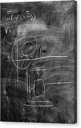 Bohr's Last Blackboard Drawing Canvas Print by Aip Emilio Segre Visual Archives