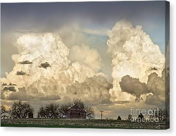 Boiling Thunderstorm Clouds And The Little House On The Prairie Canvas Print by James BO  Insogna