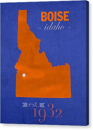 Boise State University Broncos Boise Idaho College Town State Map Poster Series No 019 Canvas Print by Design Turnpike