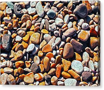 Boisterous Beach Stones Canvas Print by Joe Schofield