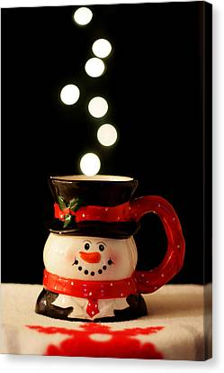 Canvas Print featuring the photograph Bokeh Fun With Snowman Mug by Barbara West