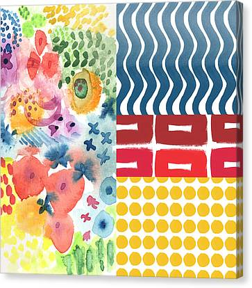 Bold Boho Patchwork- Abstract Art Canvas Print