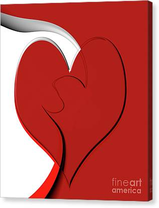 Bold Red Abstract Heart On Red And White Design 2 Canvas Print by Linda Matlow
