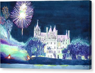 Boldt Castle Fireworks Canvas Print by Robert P Hedden