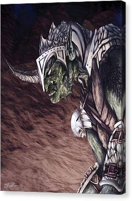 Canvas Print featuring the mixed media Bolg The Goblin King 2 by Curtiss Shaffer