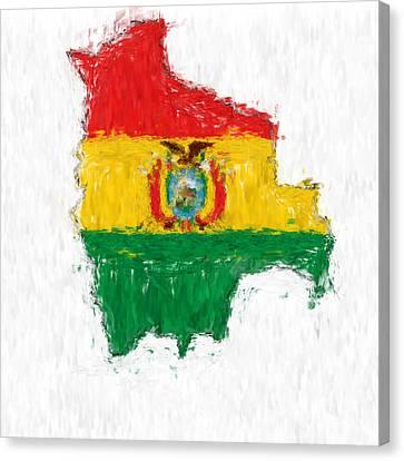 Bolivia Painted Flag Map Canvas Print by Antony McAulay