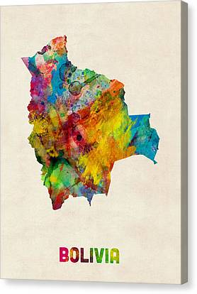 Bolivia Watercolor Map Canvas Print by Michael Tompsett