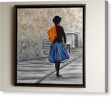 Bolivian Chola In Blue Skirt Canvas Print by Marcella Haugaard