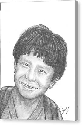 Canvas Print featuring the drawing Bolivian Jungle Child by Lew Davis
