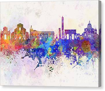 Bologna Skyline In Watercolor Background Canvas Print by Pablo Romero