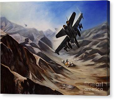 Canvas Print featuring the painting Bomb Run by Stephen Roberson
