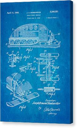 Bombardier Chain Tread Vehicle Patent Art 1944 Blueprint Canvas Print by Ian Monk
