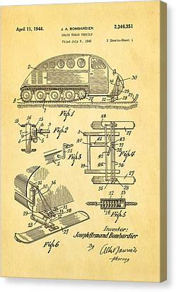 Bombardier Chain Tread Vehicle Patent Art 1944 Canvas Print